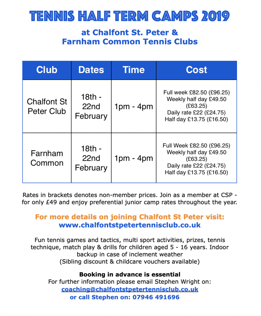 chalfont-st-peter-tennis-club-half-term-camps-february-2019